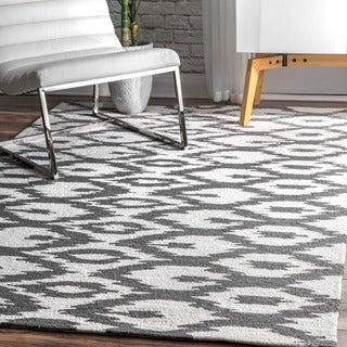 nuLOOM Handmade Modern Ikat Trellis Grey Rug (8'3 x 11')