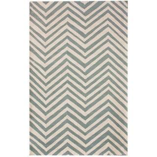 nuLOOM Handmade Alexa Chevron Blue Wool Rug (8'6 x 11'6)