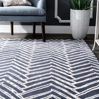 nuLOOM Handmade Chevron Denim Wool Rug