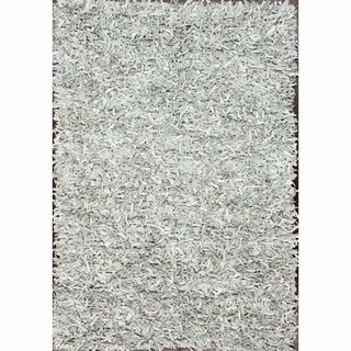 nuLOOM Handmade Alexa White Leather Shag Rug (5' x 8')