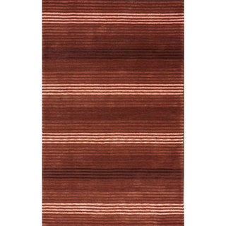 nuLOOM Handmade Modern Lines Burgundy Cotton Rug (5' x 8')