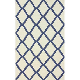 nuLOOM Hand-Hooked Moroccan Trellis Flatweave Ivory Wool Rug (5' x 8')