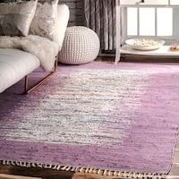 nuLOOM Handmade Mona Kilim Flatweave Lavender Rug (5' x 8')