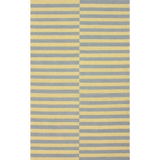 nuLOOM Handmade Modern Lines Yellow Cotton Rug (7'6 x 9'6)