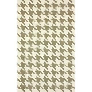 nuLOOM Handmade Houndstooth Light Brown Wool Rug (7'6 x 9'6)