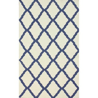 nuLOOM Hand-Hooked Moroccan Trellis Flatweave Ivory Wool Rug (7'6 x 9'6)