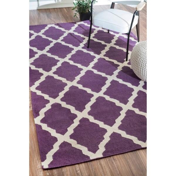 Shop NuLOOM Hand-Hooked Moroccan Trellis Flatweave Purple