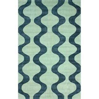 nuLOOM Handmade Swirls Blue Cotton Rug (7'6 x 9'6)