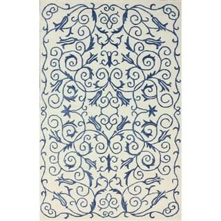 nuLOOM Handmade Floral Blue Cotton Rug (7'6 x 9'6)