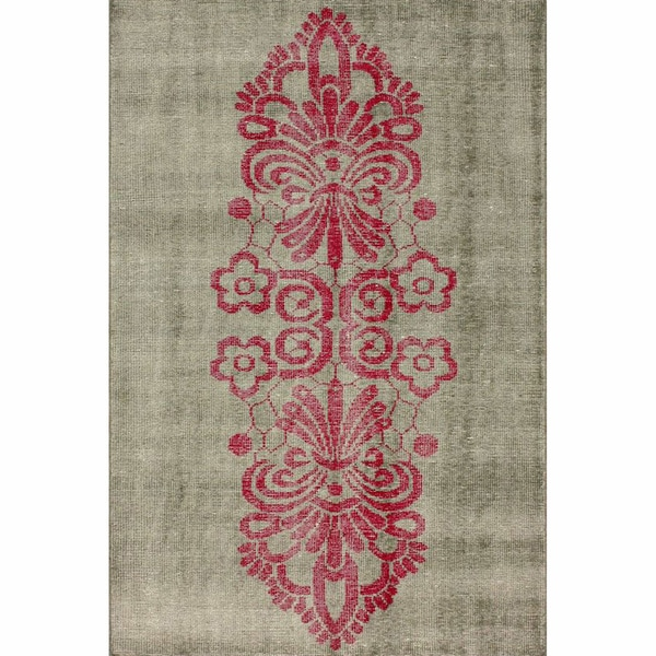 Shop NuLOOM Hand-knotted Tribal Damask Pink Wool / Viscose