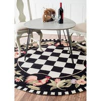 Havenside Home Henderson Hand-hooked Moroccan Rooster Checkered Wool Area Rug - 6' Round