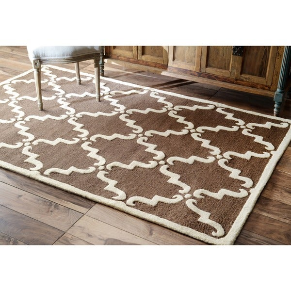 nuLOOM Handmade Luna Marrakesh Trellis Brown Wool Rug (3' x 5')