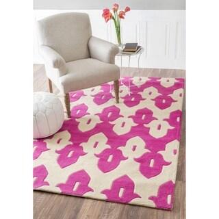 nuLOOM Handmade Modern Ikat Trellis Pink/ Ivory Wool Rug (3' x 5')