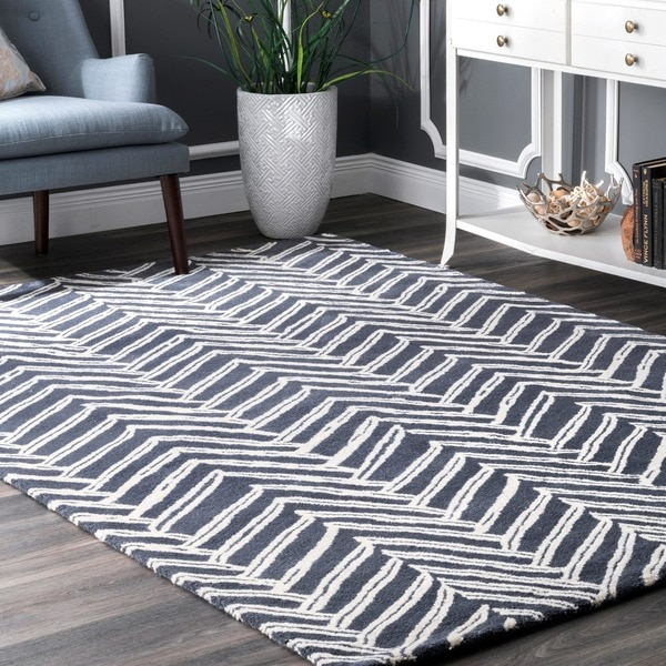 nuLOOM Handmade Chevron Denim Wool Rug (3' x 5')