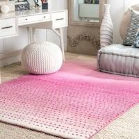 nuLOOM Handmade Ombre Pink Wool Rug (3' x 5') - 3' x 5'