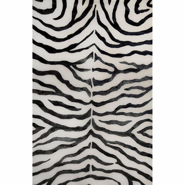 Zebra Rug Faux: Shop NuLOOM Handmade Zebra Black Faux Silk/ Wool Rug (3' X
