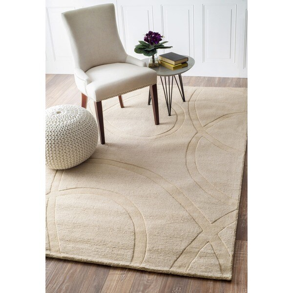 nuLOOM Handmade Neutrals and Textures Ribbons Ivory Wool Rug (6' x 9')
