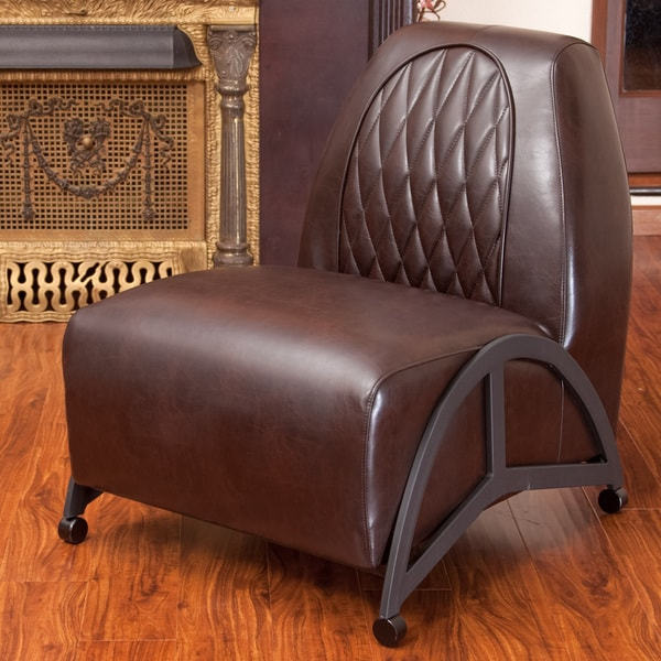 Odessa Brown Leather Slipper Chair by Christopher Knight Home