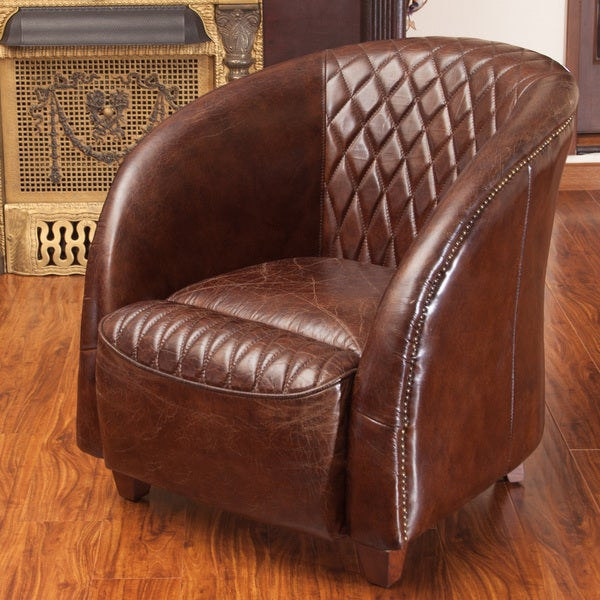 Shop Rahim Brown Tufted Leather Club Chair By Christopher