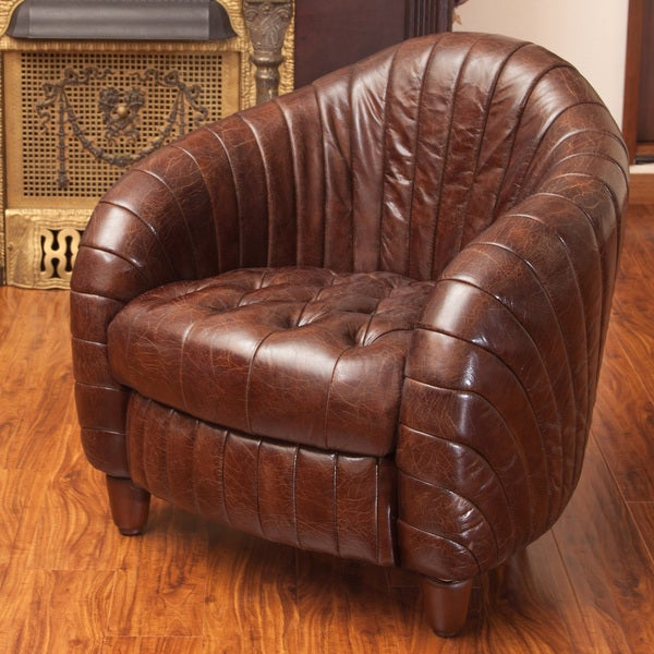 Gaston Brown Tufted and Channeled Leather Club Chair by Christopher Knight Home