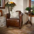 Elle Brown Leather Club Chair by Christopher Knight Home