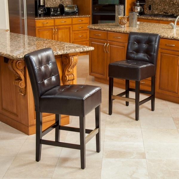 Macbeth Espresso Brown Leather Counter Stools (Set of 2) by Christopher Knight Home