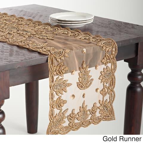 Hand Beaded Design Table Topper or Runner