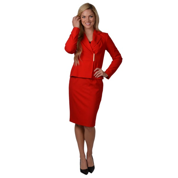 Shop Calvin Klein Women S 2 Piece Long Sleeve Skirt Suit Free