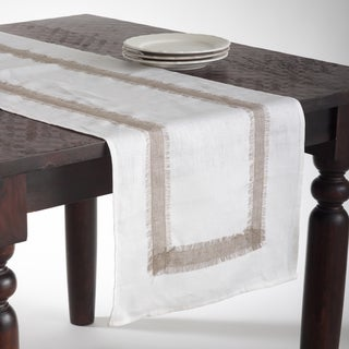 White Banded Linen Table Runner