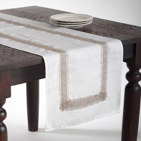 White Banded Linen Table Runner
