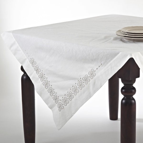 Embroidered Cotton Blend Chain Link Table Topper