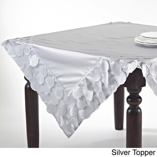 Circle Design Table Runner or Topper (Option: Toppers - Silver)