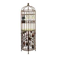 Brown Metal Glass Wine Cabinet