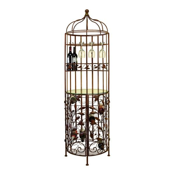 Brown Metal Glass Wine Cabinet