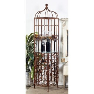 Traditional Iron and Glass Birdcage Wine Cabinet by Studio 350