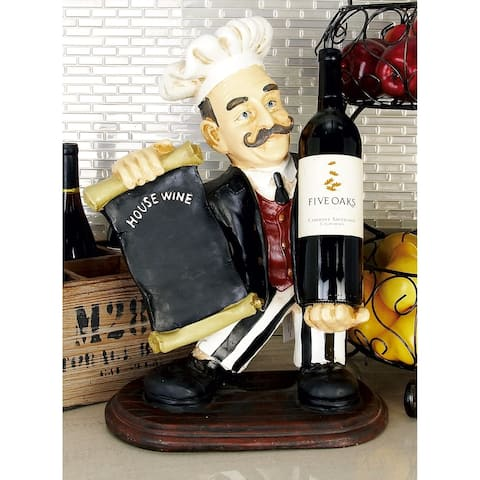 Eclectic 20 x 13 Inch Bistro Chef Figurine Wine Holder by Studio 350