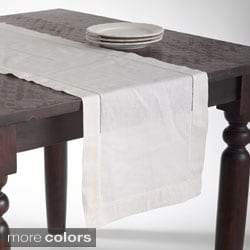 Hemstitched Linen Blend Table Runner