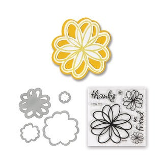 Sizzix Framelits Die Set 4-pack with Stamps Flowers, Doodle by Stephanie Barnard
