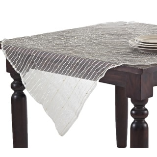 Sheer Table Topper with Fuzzy Stripes