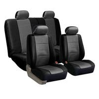 FH Group PU Leather Grey and Black Car Seat Covers (Full Set)
