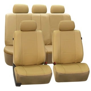 FH Group Deluxe Leatherette Beige Airbag Compatible Seat Covers (Full Set)