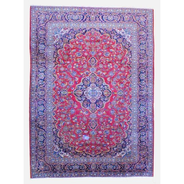 Persian Hand Knotted Kashan Silk And Wool Area Rug Ebth: Shop Persian Hand-knotted Kashan Red/ Navy Wool Rug (9'8 X