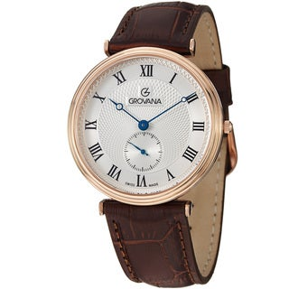 Grovana Men's White Dial Rose Goldtone Brown Leather Strap Watch