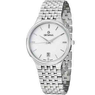 Grovana Men's 2013.1133 White Dial Stainless Steel Bracelet Quartz Watch