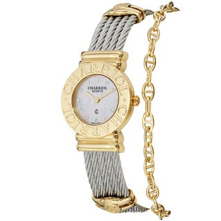 Charriol Women's 'St Tropez' Diamond Dial Two-tone Watch