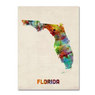 Michael Tompsett 'Florida Map' Canvas Art