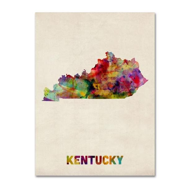 Michael Tompsett 'Kentucky Map' Canvas Art - Multi