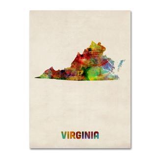 Michael Tompsett 'Virginia Map' Canvas Art