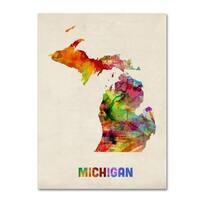 Michael Tompsett 'Michigan Map' Canvas Art - Multi
