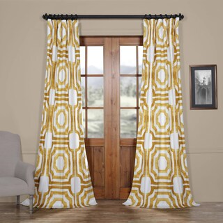 Exclusive Fabrics Mecca Printed Cotton Curtain Panel (Option: Gold - 84-inch)